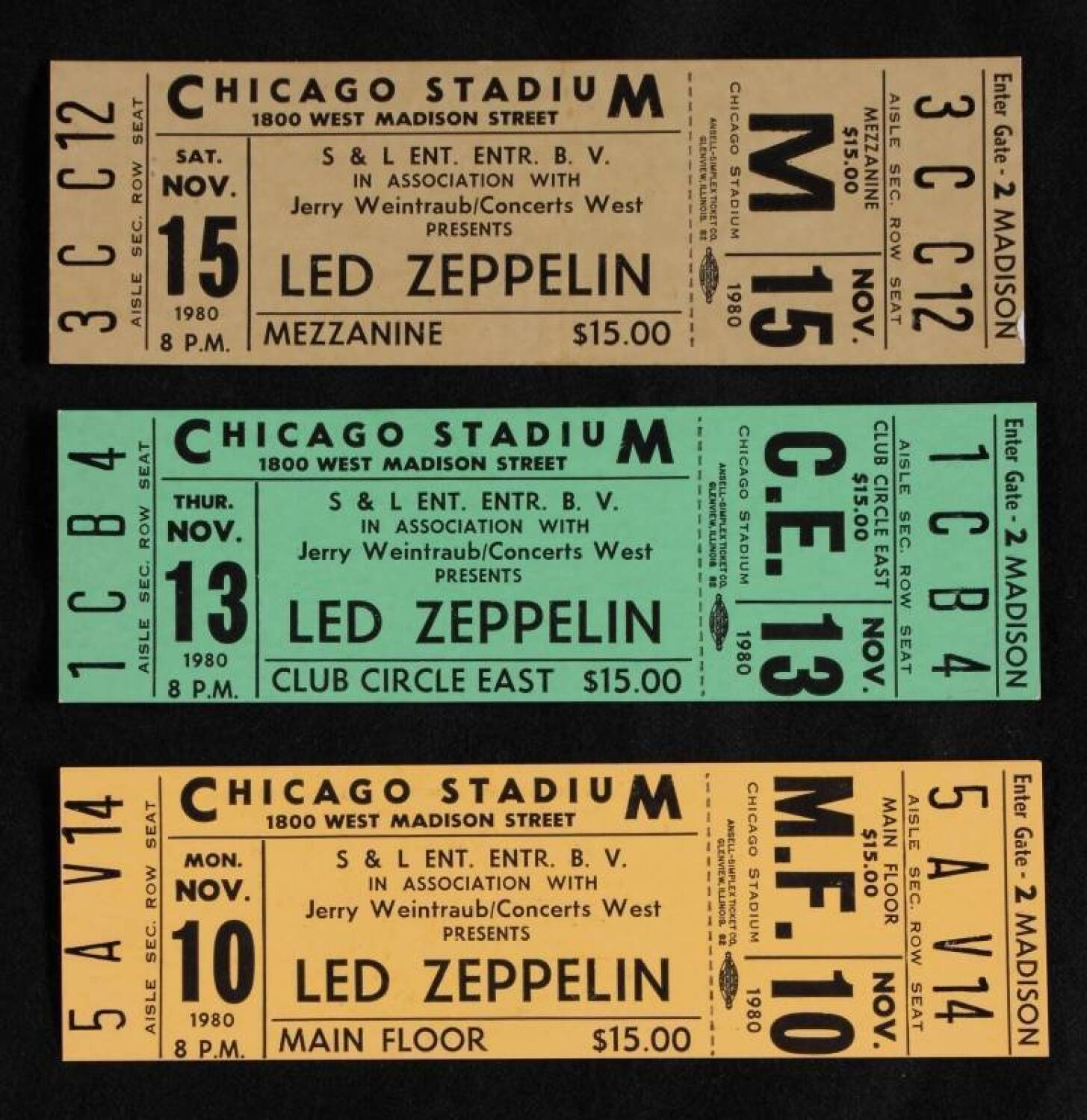 led zeppelin 1980 unused concert tickets current price 200. Black Bedroom Furniture Sets. Home Design Ideas