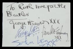 THE BEATLES SIGNED CUT SHEET