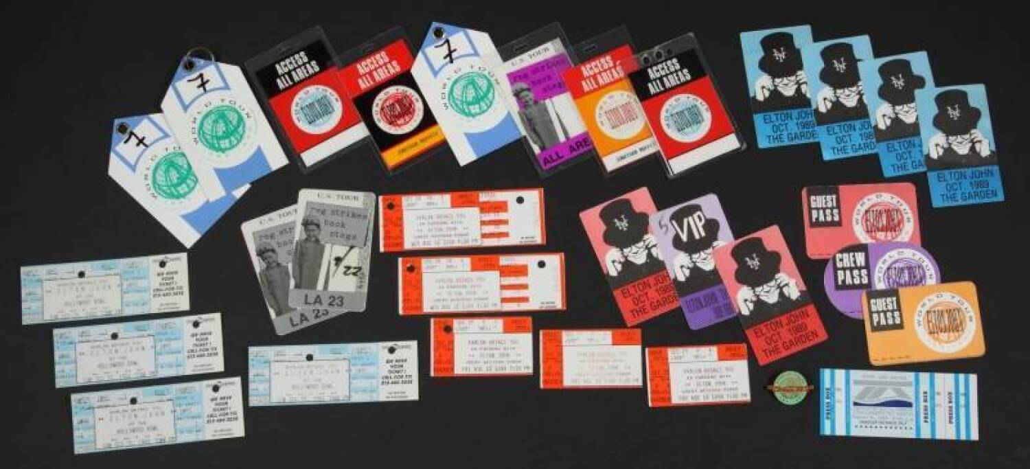 ELTON JOHN BACKSTAGE PASSES AND CONCERT TICKETS - Price