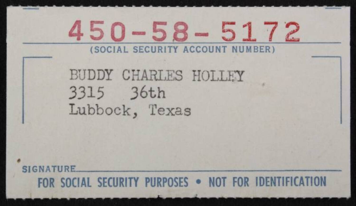 buddy holly social security card  current price 1000