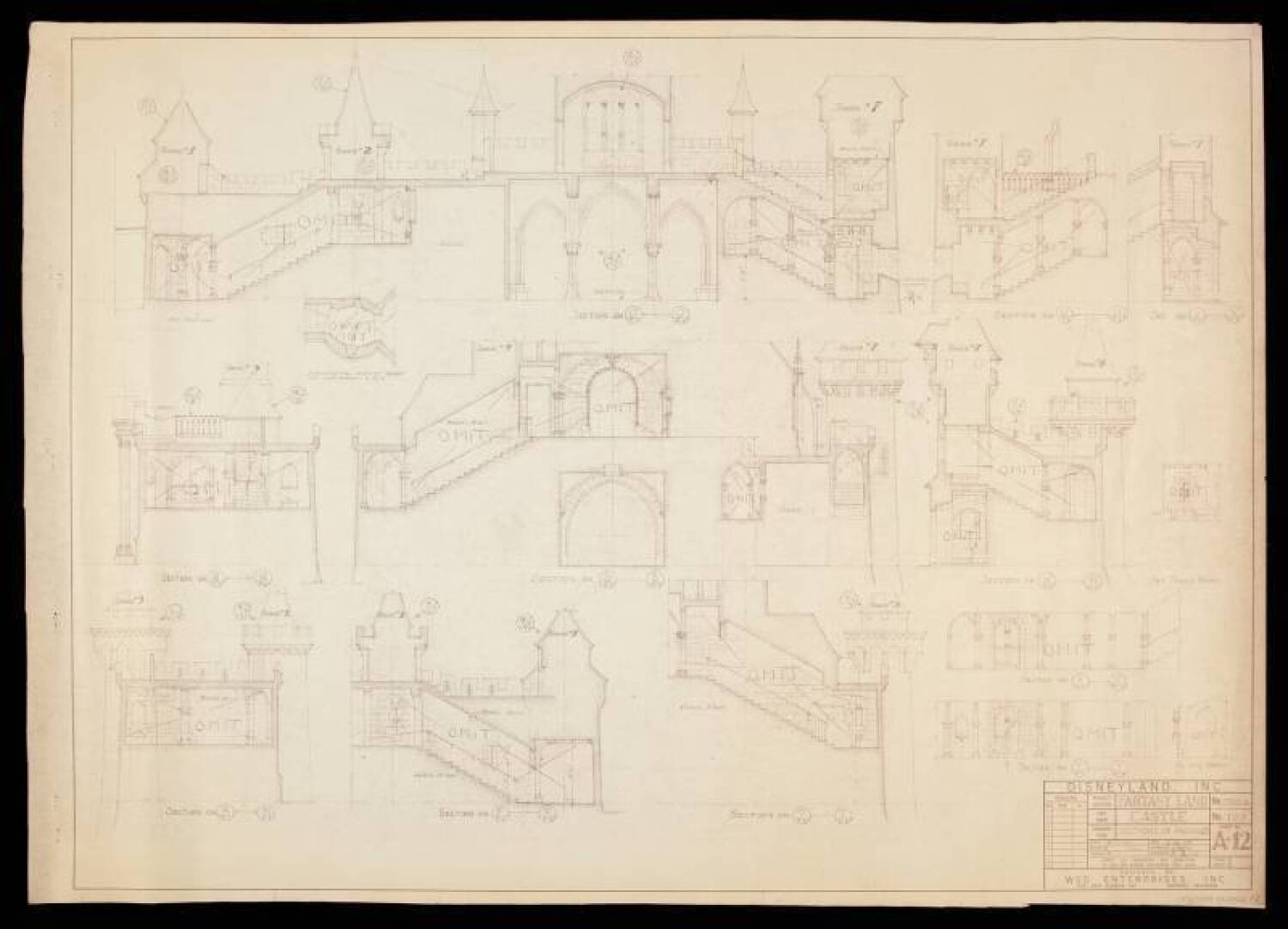 DISNEYLAND SLEEPING BEAUTY CASTLE BLUEPRINT, INTERIOR ...