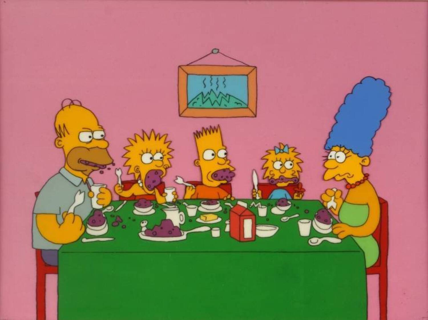 Simpsons Animation Cel From Quot Eating Dinner Quot Current