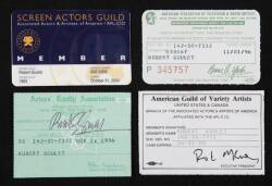 ROBERT GOULET UNION AND GUILD MEMBERSHIP CARDS