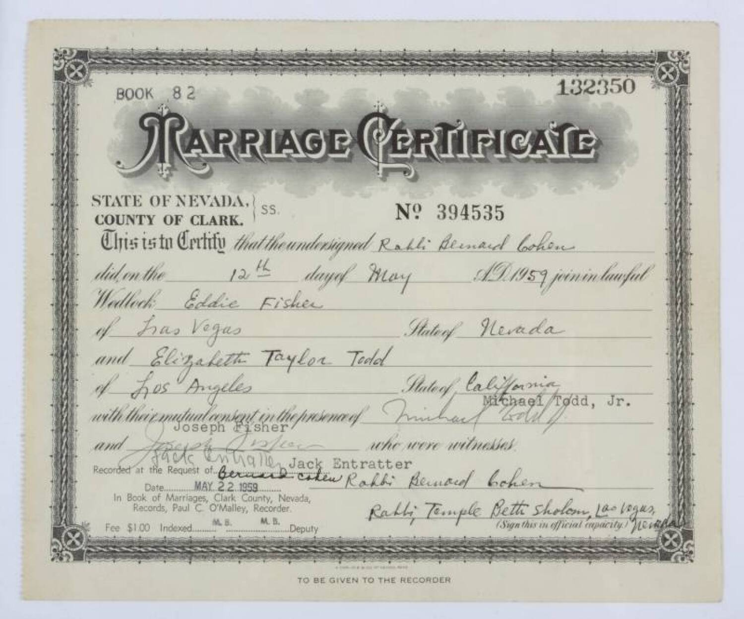 ELIZABETH TAYLOR AND EDDIE FISHER MARRIAGE CERTIFICATE