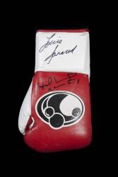 EVANDER HOLYFIELD AND LOU SAVARESE SIGNED GLOVE