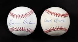 KEVIN COSTNER AND CRASH DAVIS SIGNED BASEBALLS