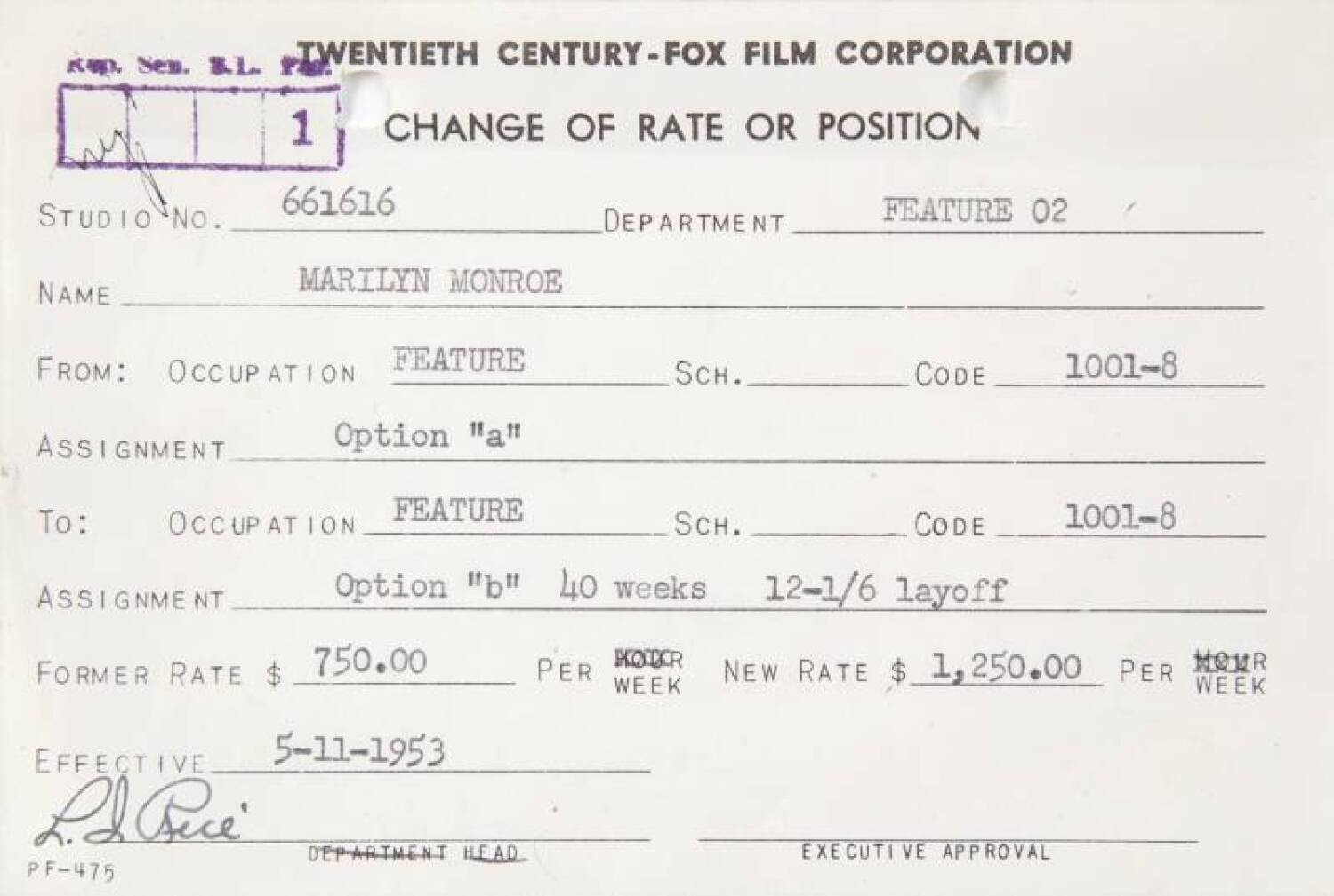 MARILYN MONROE CHANGE OF RATE CARD FROM 20TH CENTURY FOX - Current