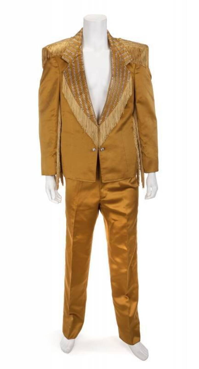 JAMES BROWN CUSTOM GOLD SATIN SUIT - Current price: US$4000