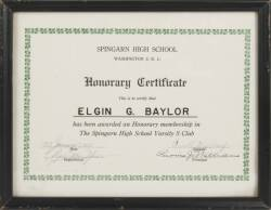 ELGIN BAYLOR SPINGARN HIGH SCHOOL HONORARY CERTIFICATE