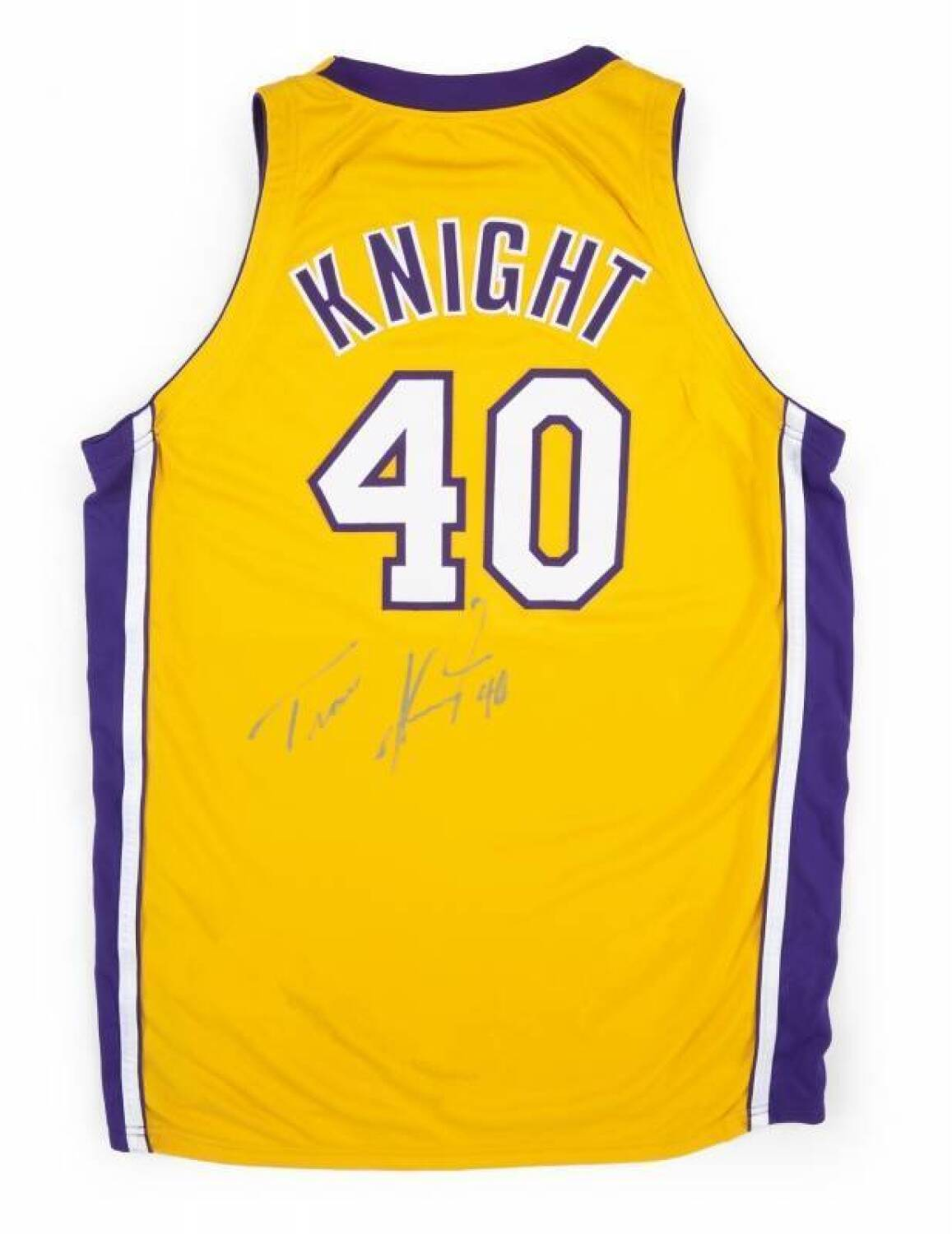 614993b9281 TRAVIS KNIGHT 2000 GAME WORN AND SIGNED LOS ANGELES LAKERS JERSEY ...