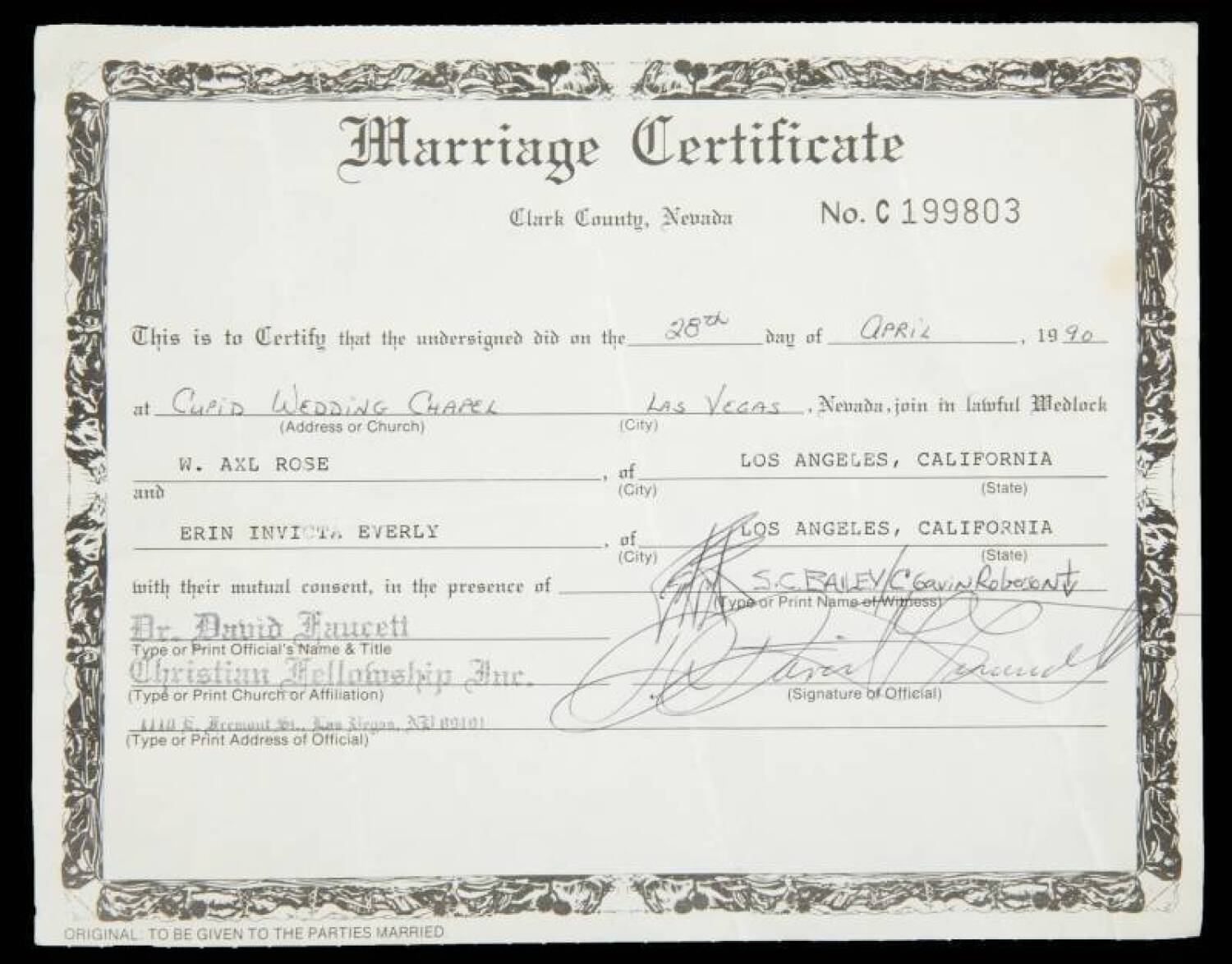 Axl Rose And Erin Everly Marriage Certificate Current Price 3500