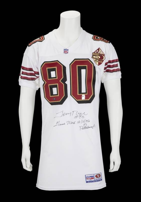 2d505c5e JERRY RICE GAME WORN SIGNED AND INSCRIBED SAN FRANCISCO 49ERS AWAY ...