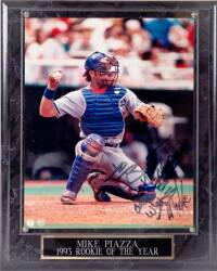 BURT REYNOLDS MIKE PIAZZA SIGNED PHOTOGRAPH PLAQUE