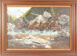 "BURT REYNOLDS STAGECOACH PAINTING SIGNED ""MARTIN"""