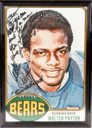 BURT REYNOLDS WALTER PAYTON SIGNED AND INSCRIBED 1976 TOPPS ROOKIE CARD IMAGE