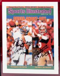 DAN MARINO AND JOE MONTANA SIGNED AND INSCRIBED JANUARY 21, 1985, SPORTS ILLUSTRATED IMAGE TO BURT REYNOLDS