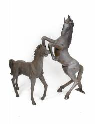 BURT REYNOLDS TWO BRONZE HORSES