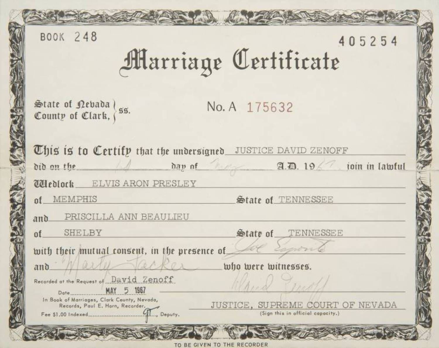 Elvis And Priscilla PresleyS Marriage Certificate