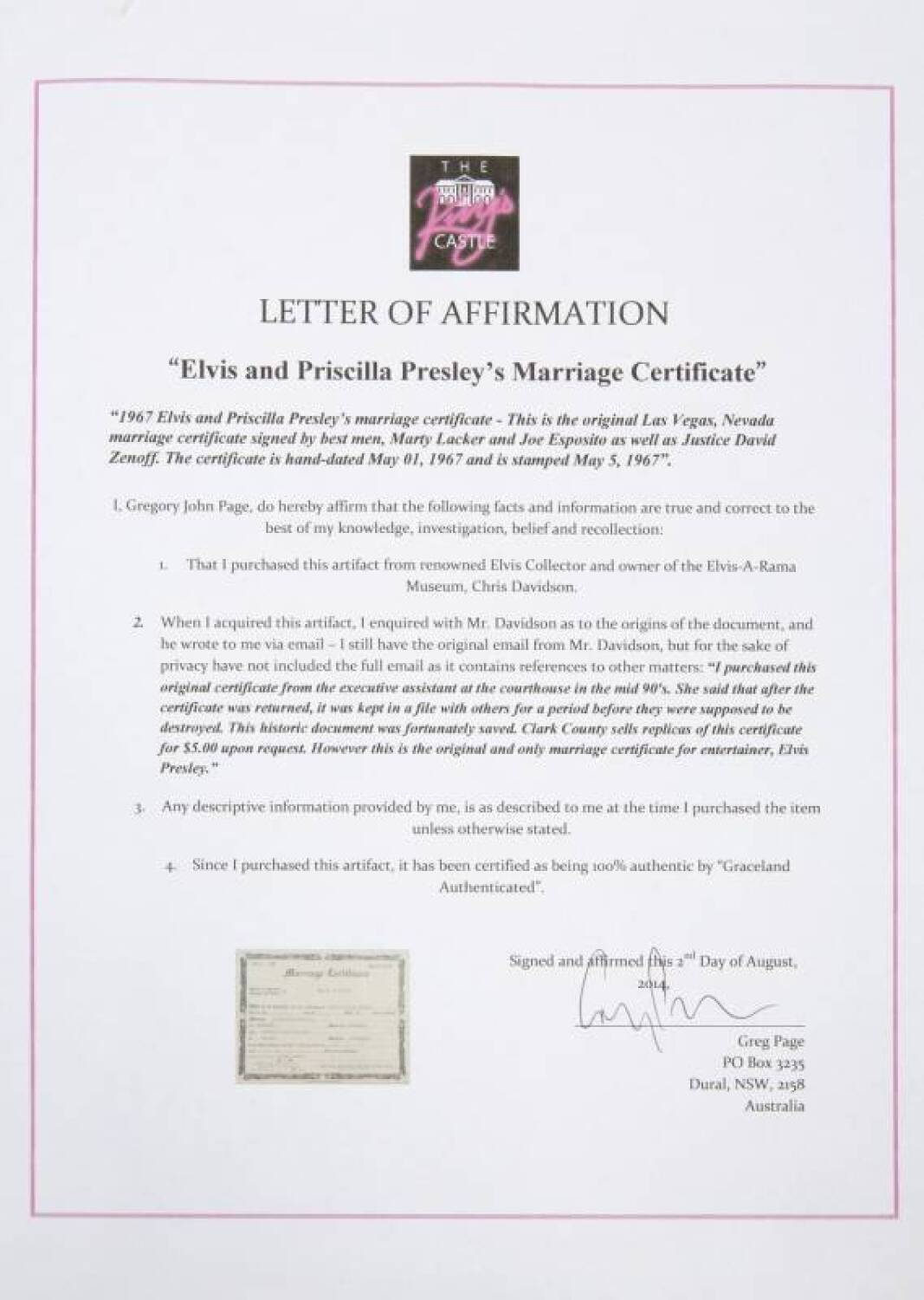 1967 Elvis And Priscilla Presley'S Marriage Certificate