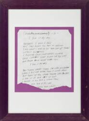 "ELVIS PRESLEY HANDWRITTEN STAGE USED ""MY WAY"" LYRICS •"
