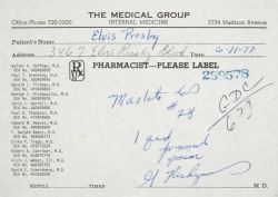 ELVIS PRESLEY MUSCLE RELAXANT PRESCRIPTION