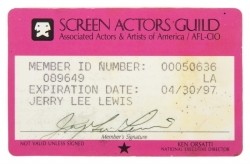 JERRY LEE LEWIS SCREEN ACTORS GUILD CARD