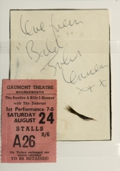 JOHN LENNON LOCK OF HAIR AND INSCRIBED CARD