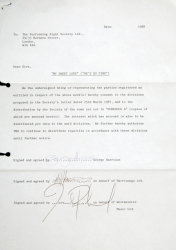 "GEORGE HARRISON SIGNED ""MY SWEET LORD"" DOCUMENT"
