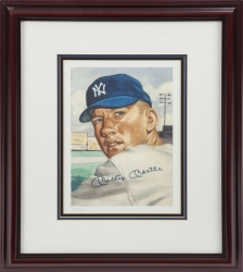 Mickey Mantle And Willie Mays Signed 1953 Topps Baseball Marriott