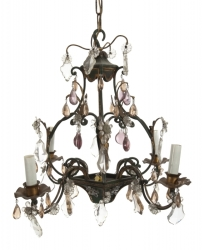 PAINTED TOLE FOUR LIGHT CHANDELIER