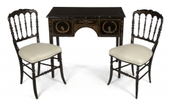 WRITING DESK WITH TWO CHAIRS