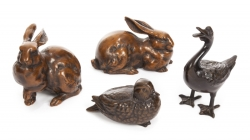 FOUR METAL ANIMAL FIGURINES