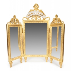 GILT VANITY MIRROR AND SCONCES