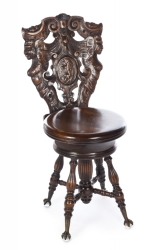 VICTORIAN GOTHIC REVIVAL HALL CHAIR AND BATIK WALL DECORATION