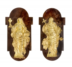 TWO GILT WALL PLAQUES