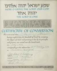 MARILYN MONROE SIGNED CONVERSION TO JUDAISM CERTIFICATE