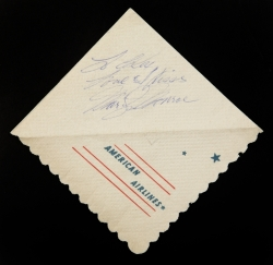 MARILYN MONROE INSCRIBED NAPKIN