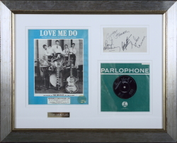 BEATLES SIGNATURES AND RECORD DISPLAY