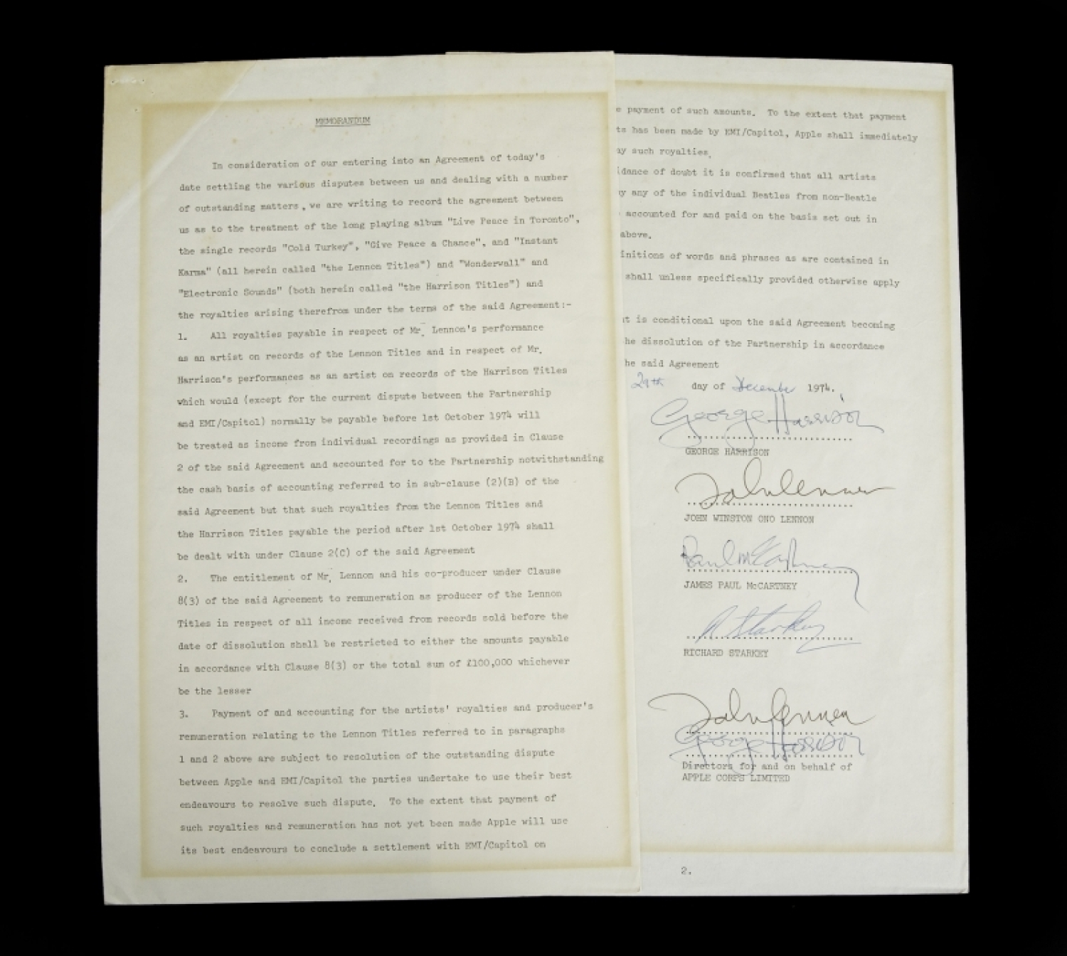 The Beatles Signed Dissolution Agreement • - Current Price: $47500
