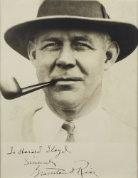 GRANTLAND RICE PHOTOGRAPH SIGNED TO HAROLD LLOYD