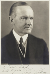 CALVIN COOLIDGE PHOTOGRAPH SIGNED TO HAROLD LLOYD