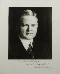 HERBERT HOOVER PHOTOGRAPH SIGNED TO HAROLD LLOYD
