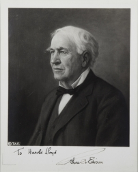 THOMAS EDISON PHOTOGRAPH SIGNED TO HAROLD LLOYD