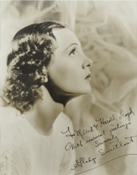 GLADYS SWARTHOUT PHOTOGRAPH SIGNED TO HAROLD LLOYD