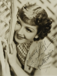 CLAUDETTE COLBERT PHOTOGRAPH SIGNED TO HAROLD LLOYD