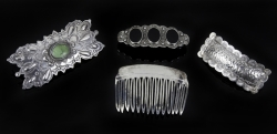 JANE FONDA STERLING SILVER HAIR BARRETTES AND COMB