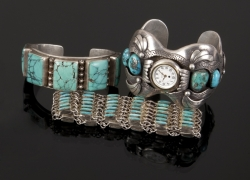 JANE FONDA TURQUOISE AND STERLING SILVER BRACELETS
