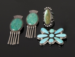JANE FONDA TURQUOISE AND STERLING SILVER JEWELRY