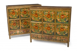 PAIR OF TIBETAN POLYCHROME CABINETS