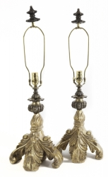 PAIR OF MODERN GILT BAROQUE STYLE TABLE LAMPS